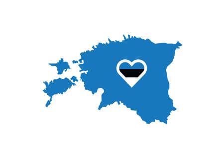 Estonia map flag heart love vector illustration