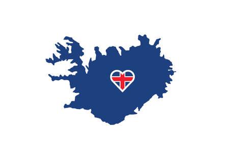 Iceland map flag heart love vector illustration