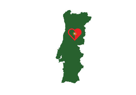 Portugal map heart love vector illustration