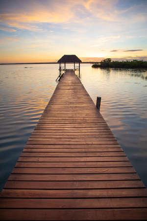 Small pier on the Bacalar lagoon Reklamní fotografie