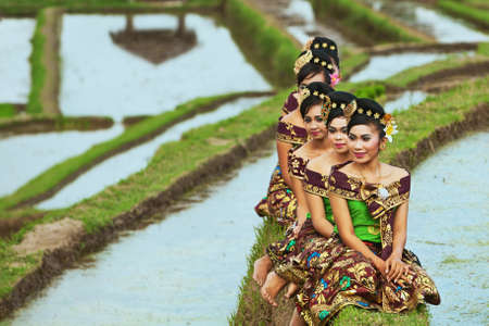 bali province: BALI INDONESIA  JULY 29: Portrait of unidentified Balinese girls on the green field with typical faces of Indonesian people wearing in traditional clothes in Jatiluwih rice terraces on 29 July 2012 Editorial
