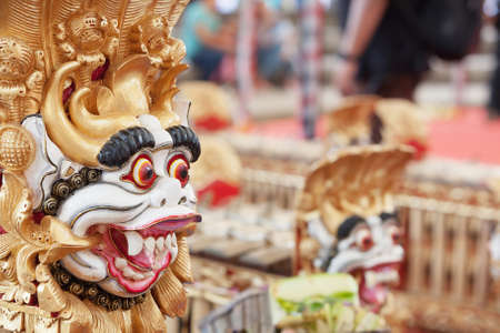 gamelan: Traditional Balinese musical orchestra Gamelan - percussion instruments decorated by mythological animals - Barong. Arts, Music and culture of Bali and Indonesian people and asian travel backgrounds Stock Photo