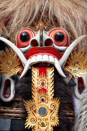 demon: Rangda spirit - demon queen of Bali island, is featured in tourist attraction - traditional Balinese Barong dance.  Arts, religion and culture festivals of Indonesian people. Asian travel backgrounds.