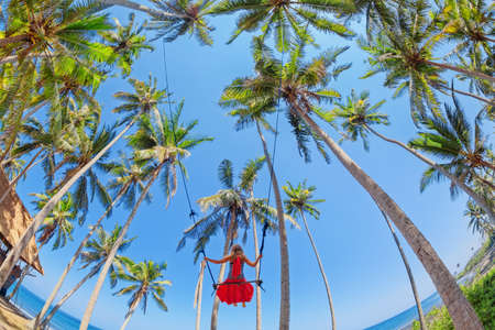 Beautiful girl fly high with fun in blue sky on rope swing among coconut palms on sea beach in tropical island. Healthy lifestyle, people activity and relaxation on summer family vacation with child. Stock Photo