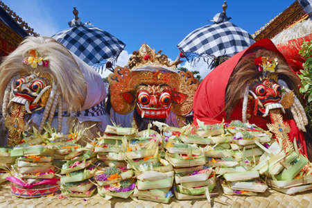 ceremony: Barong Ket and 2 Rangda - traditional spirits of Bali island at temple ceremony Melasti before Balinese New Year and silence day Nyepi. Holidays, festivals, rituals, art, culture of Indonesian people.