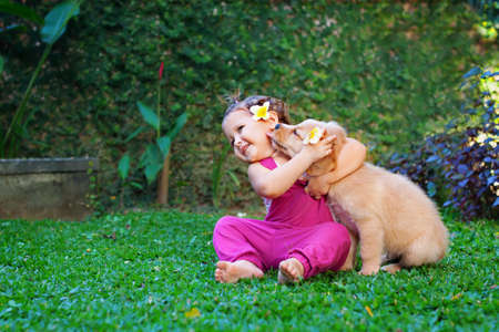 Funny photo of happy baby hugging beautiful golden labrador retriever puppy. Girl play with dog. Family lifestyle, positive emotions of children fun games with home pet on summer vacation. Standard-Bild