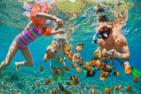 Happy family - father, mother, child in snorkeling mask dive underwater with tropical fishes in coral reef sea pool. Travel lifestyle, water sport adventure, swimming on summer beach holiday with kids 스톡 콘텐츠