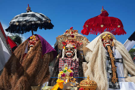 Traditional Barong and Rangda masks. Bali island spirit at ceremony Melasti and ritual temple dance before Balinese New Year, silence day Nyepi. Holidays, festivals, art, culture of Indonesian people. Editorial