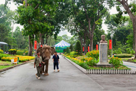 Ho Chi Minh city, Vietnam - September 01, 2015: Zookeeper walks elephant in Saigon zoo and botanical garden. Popular place to visit on day tour for families traveling with kids.