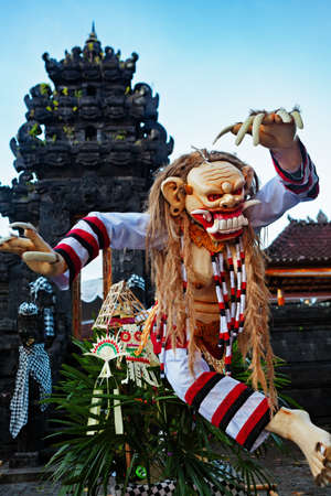 Rangda - traditional demon ogoh-ogoh at ritual parade of terrible monsters - Ngrupuk, which is held in evening of Nyepi - Balinese New Year before silence day. Arts and culture of Bali island people. Editorial