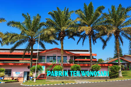 Lawang, Indonesia - July 16, 2018: Factory building producing export sorts of green and black Indonesian tea. Wonosari highland plantation is popular travel destination in Java island. Redakční