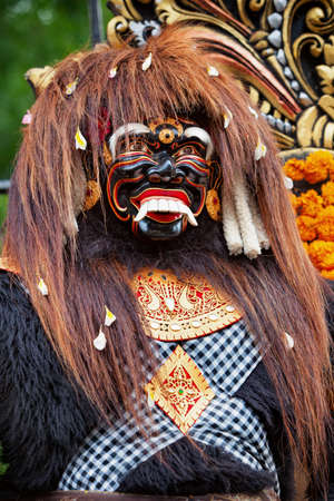 Traditional balinese temple old puppet mask for religious holiday festivals and ceremonies - protective spirit Barong Landung Jero Gede. Art, culture, traditions of Bali island and Indonesian people. Stock Photo
