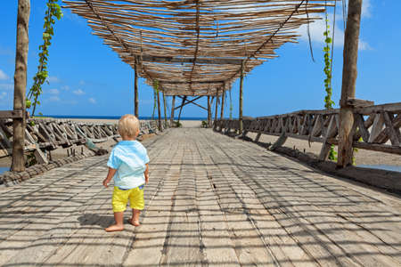 Happy baby boy walk with fun by wood bridge to sunny ocean beach. Active children lifestyle, summer vacation travel with little kids at family resort on tropical islands. Imagens