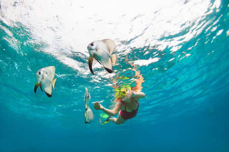 Happy family - girl in snorkeling mask dive underwater, explore tropical fishes Platax ( Batfish). Travel lifestyle, beach adventure, swimming activity, water sport on summer beach holidays with kids. Фото со стока