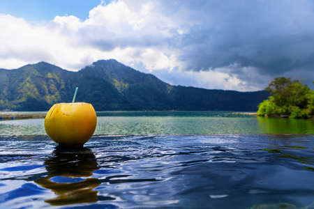 Natural hot spring spa beside Batur volcano. Hot water flowing to infinity pool with beautiful lake and mountain Abang view. Popular travel destination on family summer holiday in Kintamani, Bali.