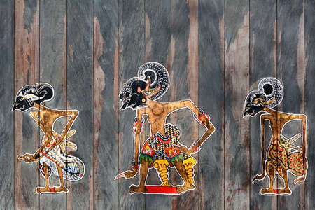 Old traditional puppets of Bali and Jawa Island - Wayang Kulit. Culture, religion, Arts festivals of Balinese and Indonesian people. Travel background