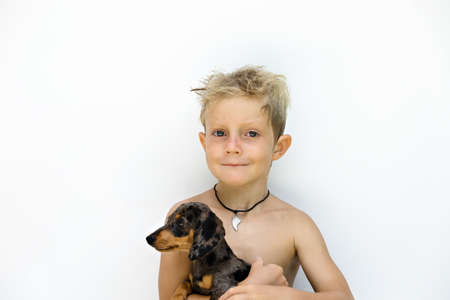 Funny portrait of little child embracing dachshund puppy after outdoor playing. White background. Popular dog breeds, outdoor activity and fun games with family pet on summer holiday. Banco de Imagens