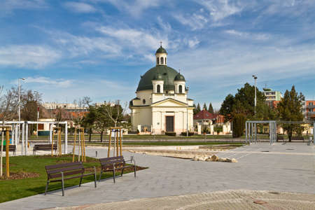 reconstructed: Rozalia Church in the Slovak town of Komarno built in classical style in 19 centuries with a reconstructed Kossuth Square .