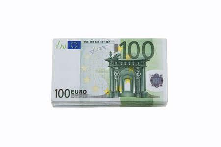 banknotes: Stack of 100 euro banknotes . Stock Photo