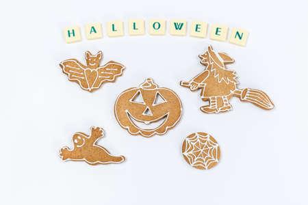 Homemade Ginger and Honey cookies on nice halloween theme. photo