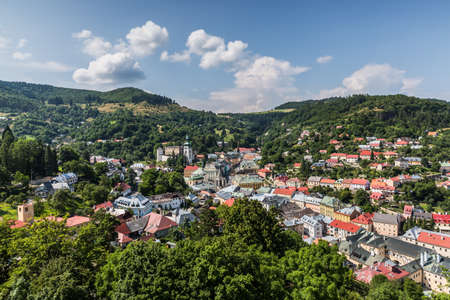 mining town: Mining town Banska Stiavnica with Old Castle  Holy Trinity Square and urban scenery . Slovakia  UNESCO .
