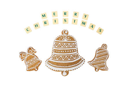 three wishes: Homemade three bells gingerbread and honey cookies on nice christmas theme with a wishes on white background.