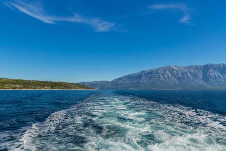 seaway: Seaway between Croatian island Brac and Dalmatia in beautiful scenery. Stock Photo