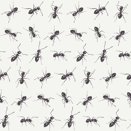 Group of black ants isolated on a white background. Vector seamless pattern Illustration