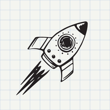 Rocket ship doodle icon. Hand drawn sketch in vector Vettoriali