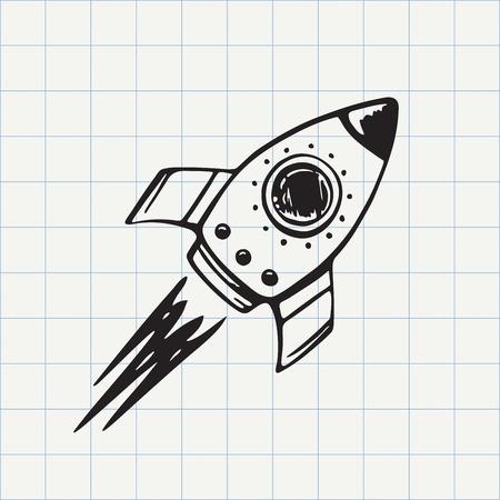 caricatura mosca: Rocket icono del doodle de la nave. croquis dibujado a mano en el vector Vectores