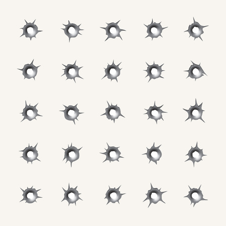 hollows: Bullet holes. Set of various weapons impact hollows, gunshot marks in vector