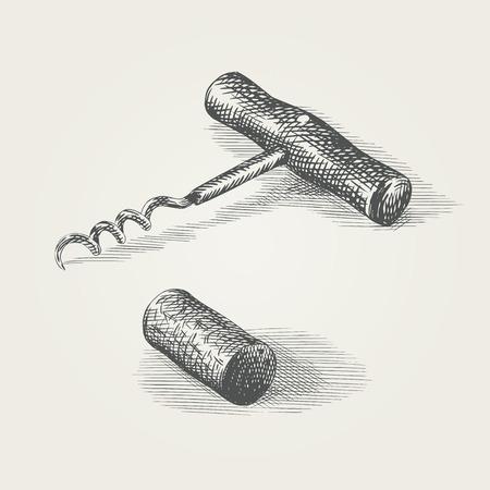 corcho: Mano sacacorchos dibujado y corcho del vino