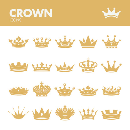 regal: Crown. Icons set in vector Illustration