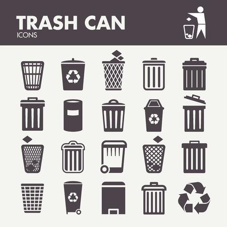 reciclar basura: Bote de basura. Iconos de establecen en el vector Vectores