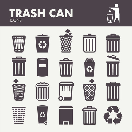 Trash can. Icons set in vector Illustration