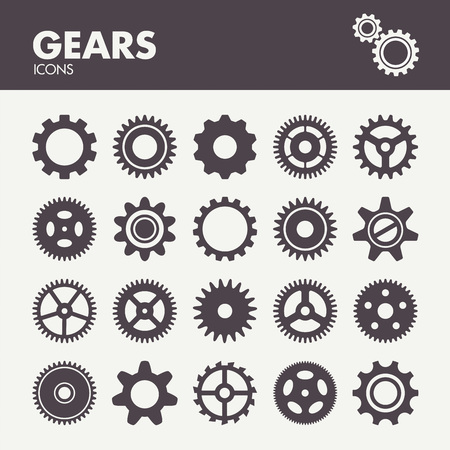 Engranajes y ruedas dentadas. Iconos de establecen en el vector Foto de archivo - 48297451
