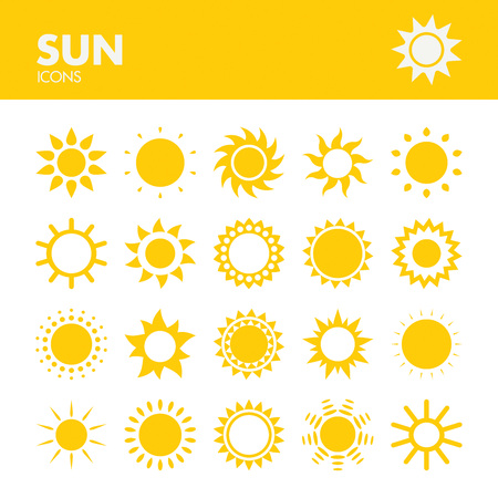 Sun. Icons set in vector
