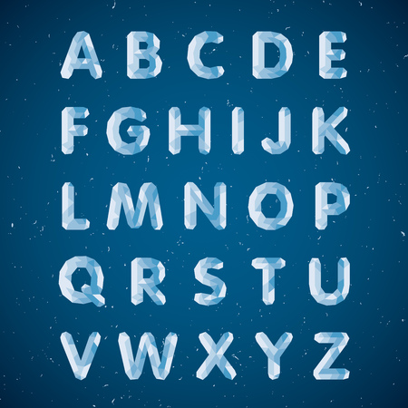 Crystal alphabet. Capital letters. Ice font in vector Illustration