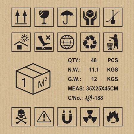 Cargo symbols on cardboard texture. Handling, packing and caution signs Çizim