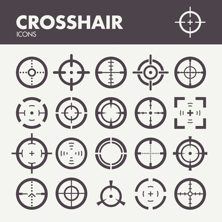 focus on: Crosshair. Icons set in vector