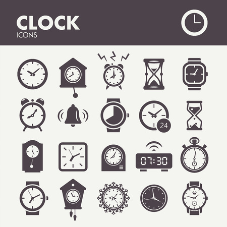 Clocks and time. Icons set in vector Illustration
