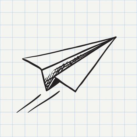 avion caricatura: icono del doodle de avi�n de papel. croquis dibujado a mano en el vector