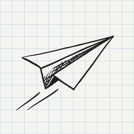 airplane wing: Paper plane doodle icon. Hand drawn sketch in vector