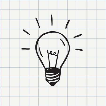 bombillo: Bombilla icono idea símbolo de boceto en el vector. signo del doodle dibujado a mano