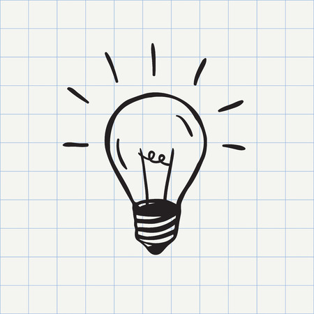 by light: Light bulb icon idea symbol sketch in vector. Hand-drawn doodle sign