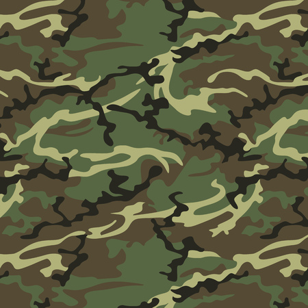 militant: Camouflage seamless pattern in khaki green. Woodland style vector texture