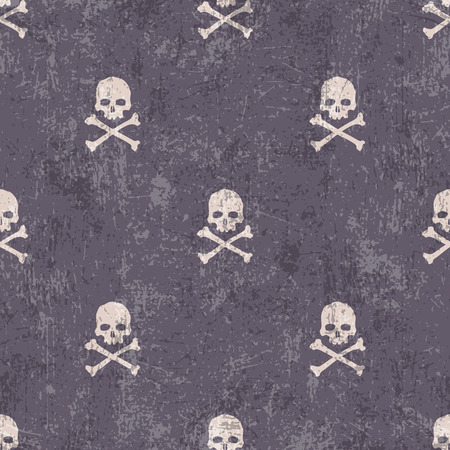 Skull and crossbones on distressed texture. Vector seamless pattern