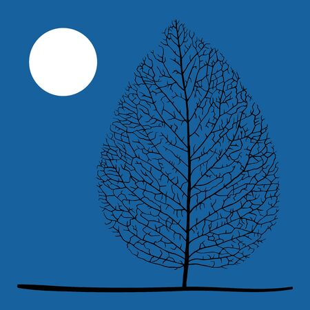 Lonely dry leaf and moon