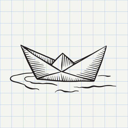 Paper ship doodle icon. 向量圖像
