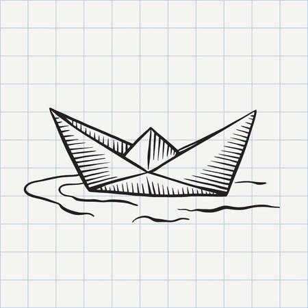Paper ship doodle icon. Illustration